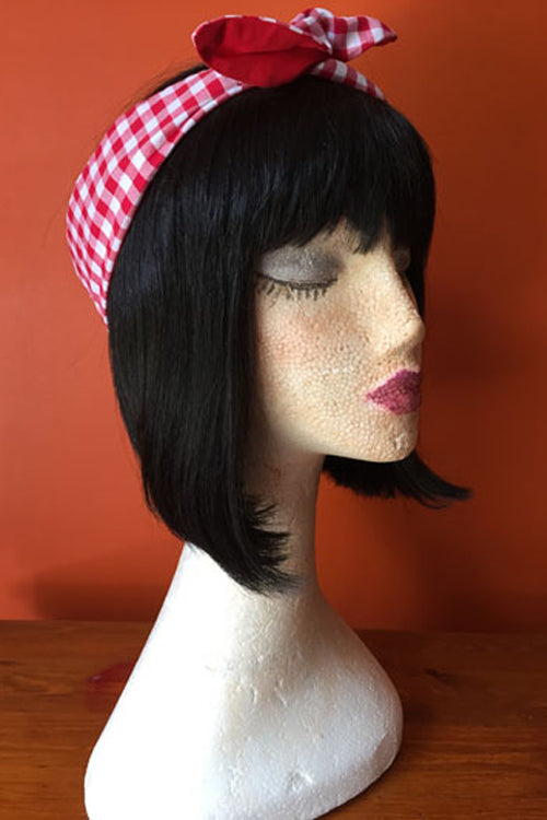 Reversible Wired Headband in Red Gingham Print & Red