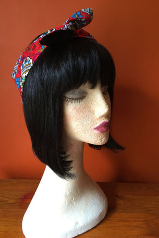 Reversible Wired Headband in Red Sugar Skull Print & Black