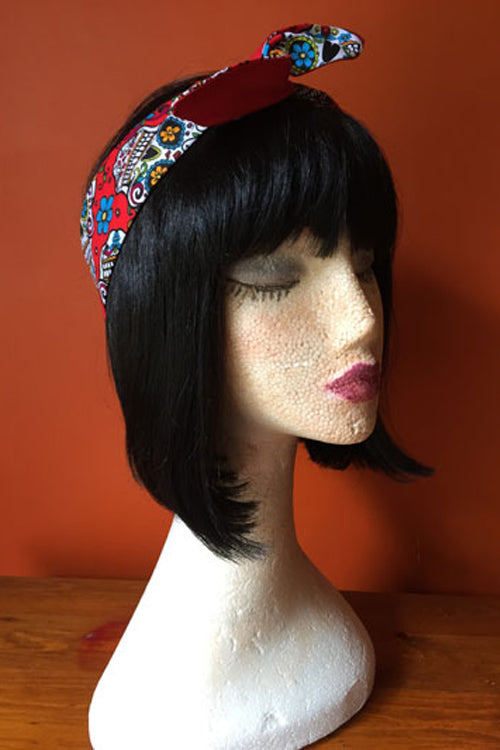 Reversible Wired Headband in Red Sugar Skull Print & Red