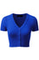 MAK Sweaters Cropped Cardigan with Short Sleeves in Royal Blue
