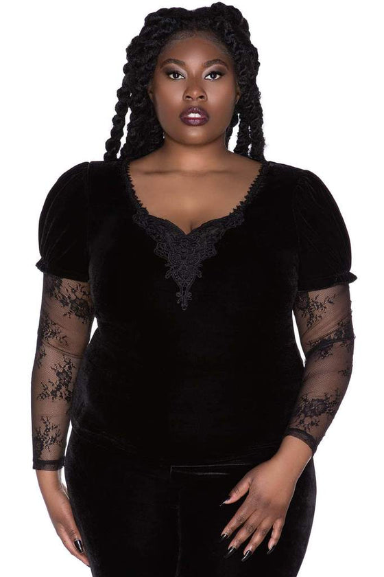 Killstar Spirit Bound Long Sleeve Velvet and Lace Top