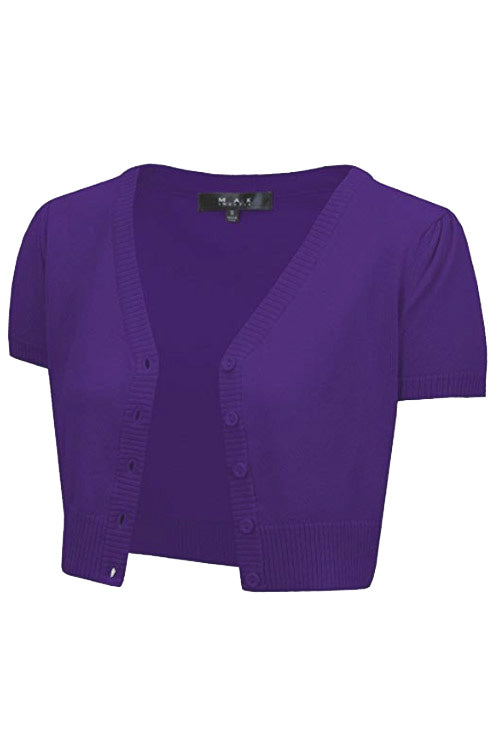 MAK Sweaters Cropped Cardigan with Short Sleeves in Grape