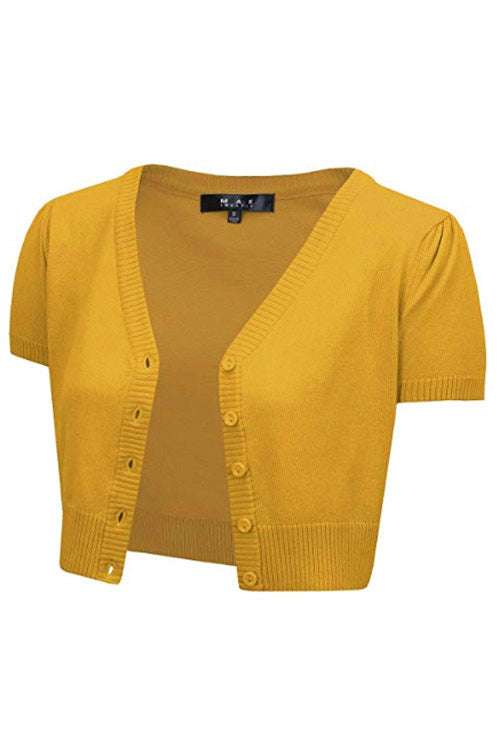 MAK Sweaters Cropped Cardigan with Short Sleeves in Honey Yellow