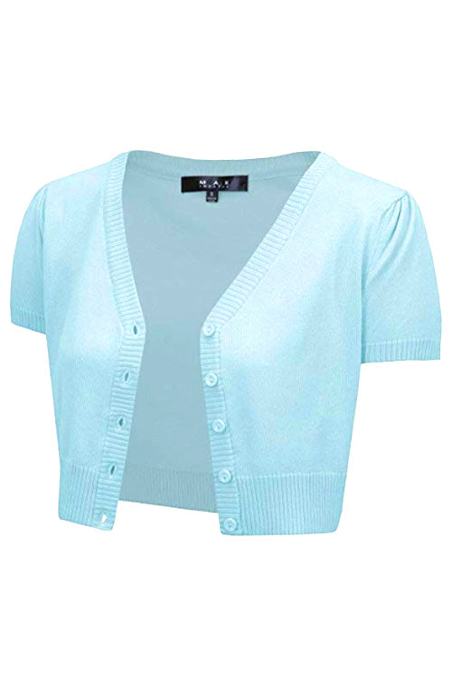MAK Sweaters Cropped Cardigan with Short Sleeves in Light Blue