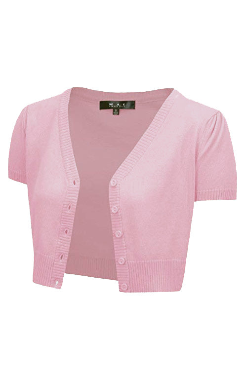 MAK Sweaters Cropped Cardigan with Short Sleeves in Light Pink