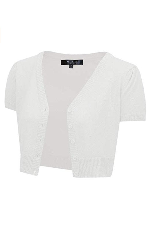 MAK Sweaters Cropped Cardigan with Short Sleeves in White