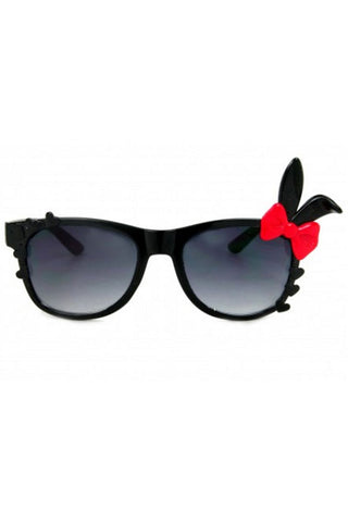 Kiss Eyewear Bunny Sunglasses in Black Frame with Red Bow