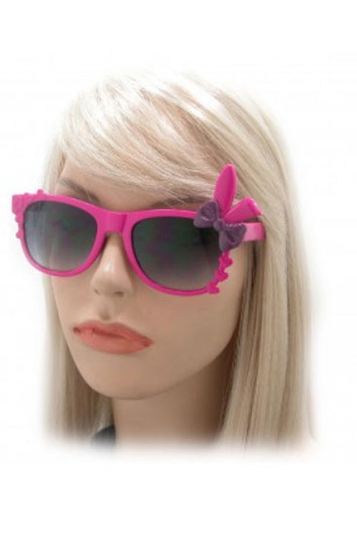 Kiss Eyewear Bunny Sunglasses in Black Frame with Pink Bow