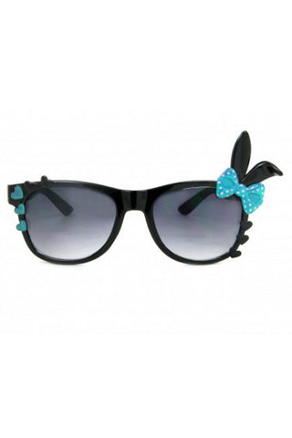 Bunny Sunglasses with Black Frame and Polka dot Bow  & Hearts in Blue