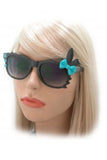Bunny Sunglasses with Black Frame and Polka dot Bow  & Hearts in Red