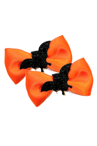 Satin Bat Bow Pair in Orange