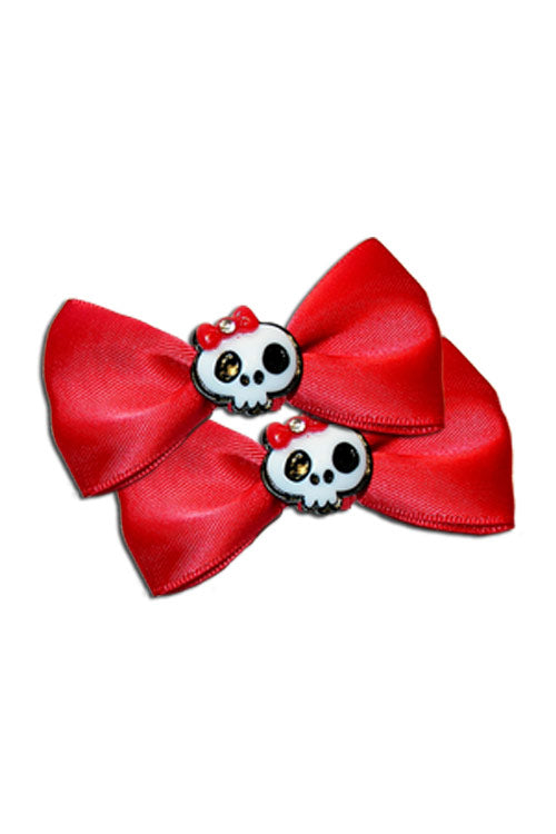 Satin Skull Bow Pair in Red