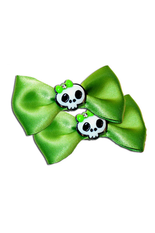 Satin Skull Bow Pair in Green