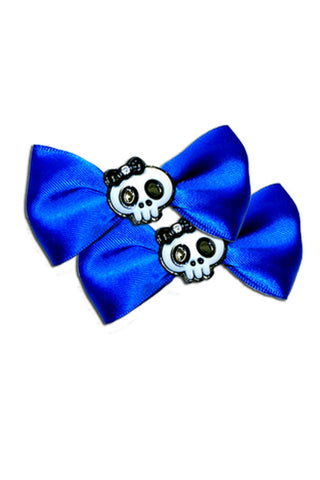 Satin Skull Bow Pair in Blue
