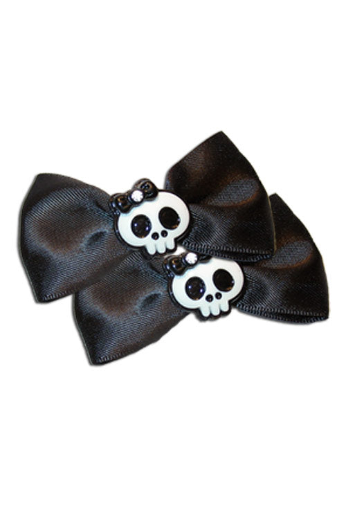 Satin Skull Bow Pair in Black