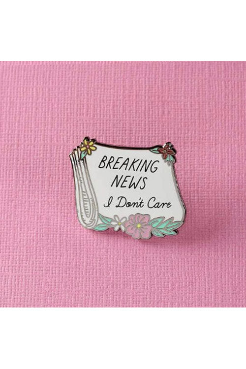 Punky Pins Breaking News, I Don't Care Paper Enamel Pin