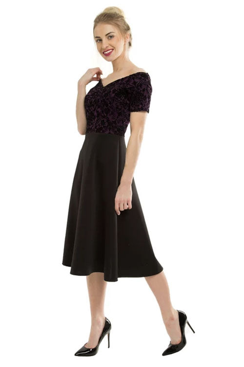 Feverfish Camilla 50's Dress with Purple & Black Flocked Brocade Bodice and Plain Black Skirt