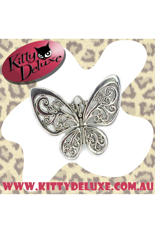 Kitty Deluxe Broochlette Brooch in Silver Butterfly