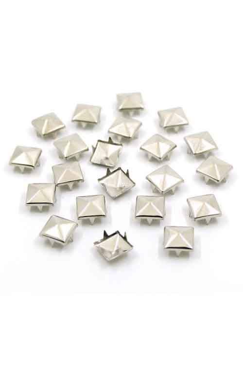 9 mm Pyramid Studs 20 Piece Pack  - Silver Tone