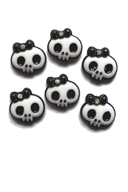 Kitty Deluxe Skull Bow Resin Flatback x 50