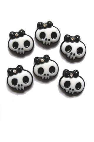 Kitty Deluxe Skull Bow Resin Flatback x 6