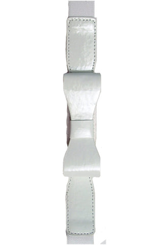 "Kitty Deluxe 1"" Skinny Bow Belt in White"