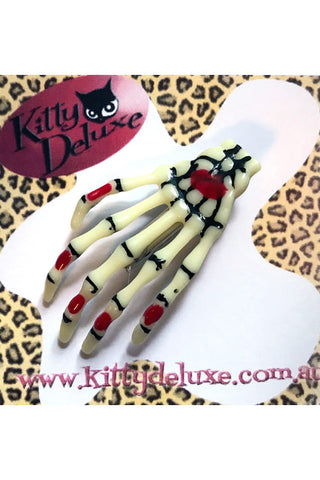 Kitty Deluxe Skeleton Hair Clip with Blood