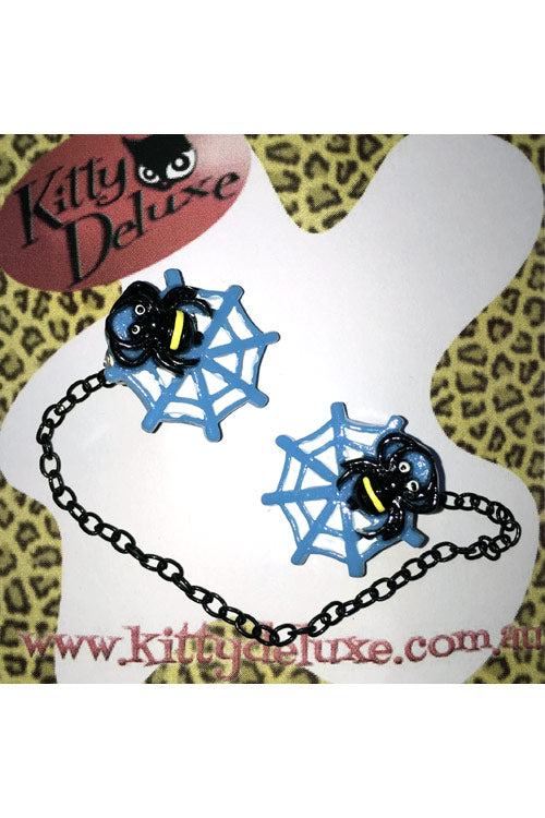 Kitty Deluxe Cardigan Clips in Blue Spider in Web Design