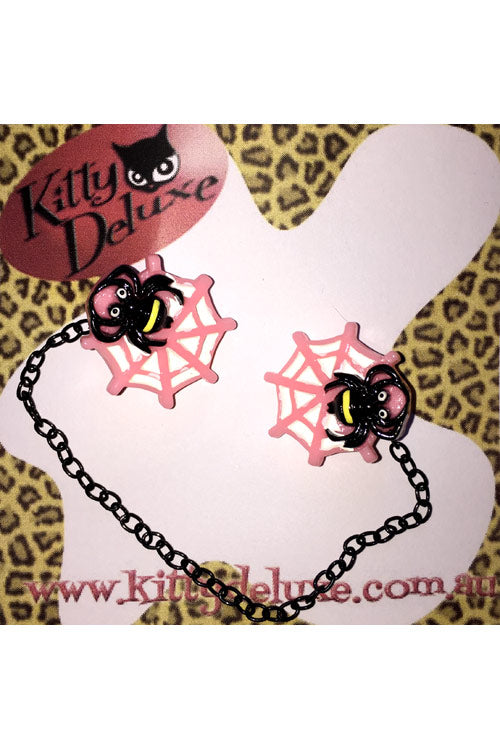 Kitty Deluxe Cardigan Clips in Pink Spider in Web Design