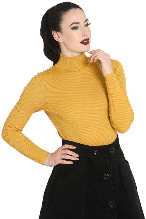 Hell Bunny Spiros Top in Mustard