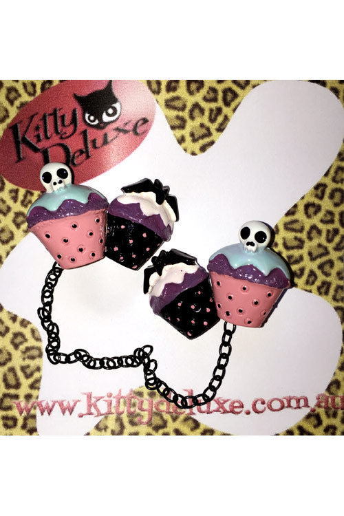 Kitty Deluxe Cardigan Clips in Spooky Cupcake Design