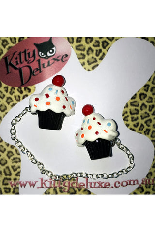 Kitty Deluxe Cardigan Clips in Sprinkle Cupcake Design