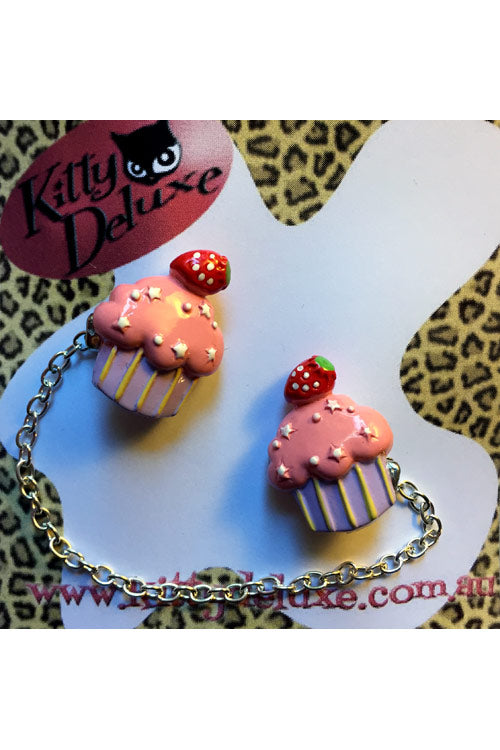 Kitty Deluxe Cardigan Clips in Strawberry Cupcake Design