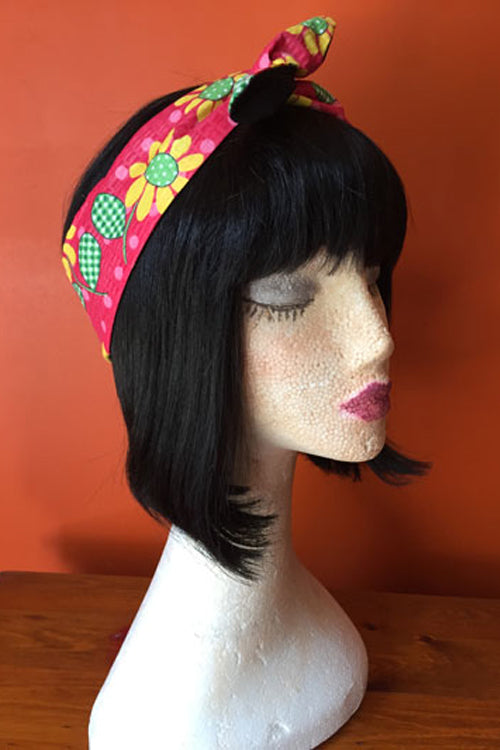 Reversible Wired Headband in Colourful Sunflower Print & Black