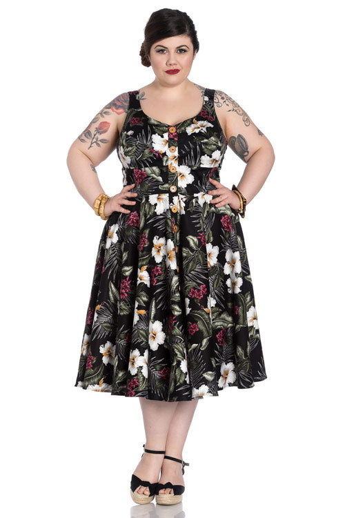Hell Bunny Tahiti 50's Dress in Black