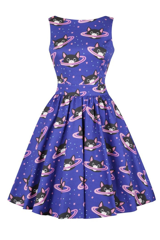Lady Vintage Tea Dress in Space Kitty