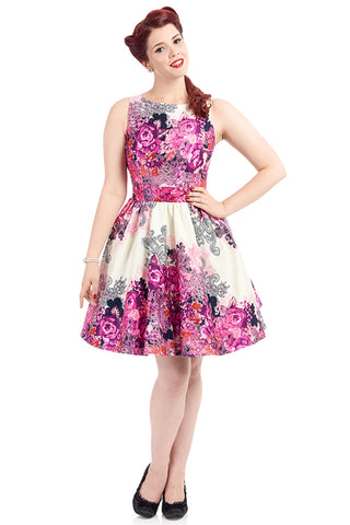 Lady Vintage Tea Dress in Purple Rose Border Print