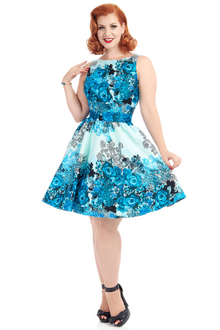 Lady Vintage Tea Dress in Blue Rose Border Print