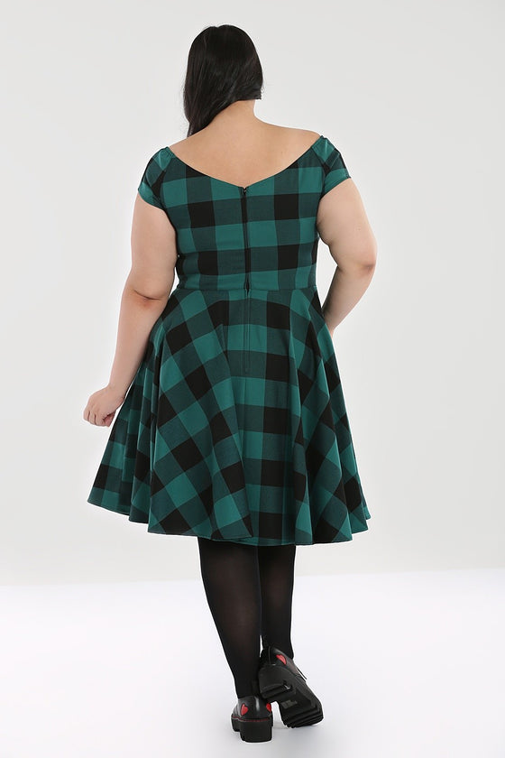 Hell Bunny Teen Spirit Mid Dress in Green