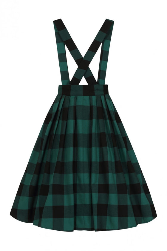 Hell Bunny Teen Spirit Pinafore Skirt in Green