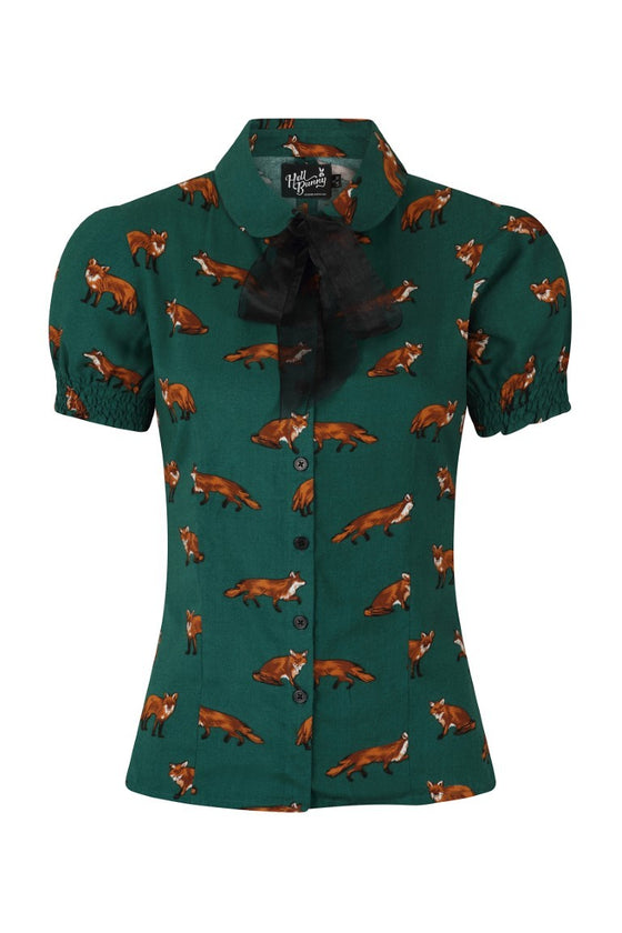 Hell Bunny Vixey Blouse in Green