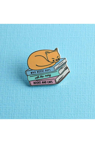 Punky Pins Who Needs Boys with Cats and Books Enamel Pin