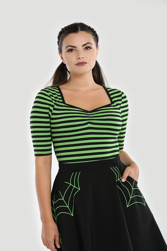 Hell Bunny Warlock Top in Green and Black