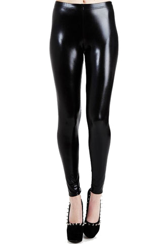 Pamela Mann Hosiery Wet Look Leggings in Black