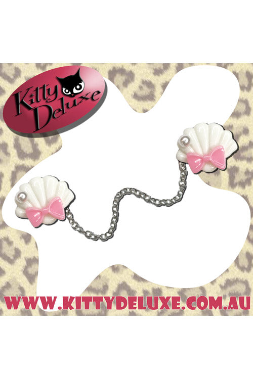 Kitty Deluxe Cardigan Clips in Ariel's Wardrobe - White with Pink Bow