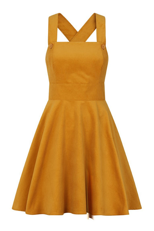 Hell Bunny Wonder Years Pinafore in Mustard