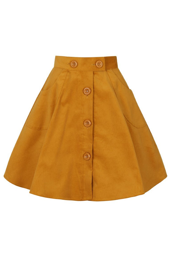 Hell Bunny Wonder Years Mini Skirt in Mustard