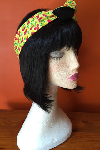 Reversible Wired Headband in Yellow Cherry Print & Black