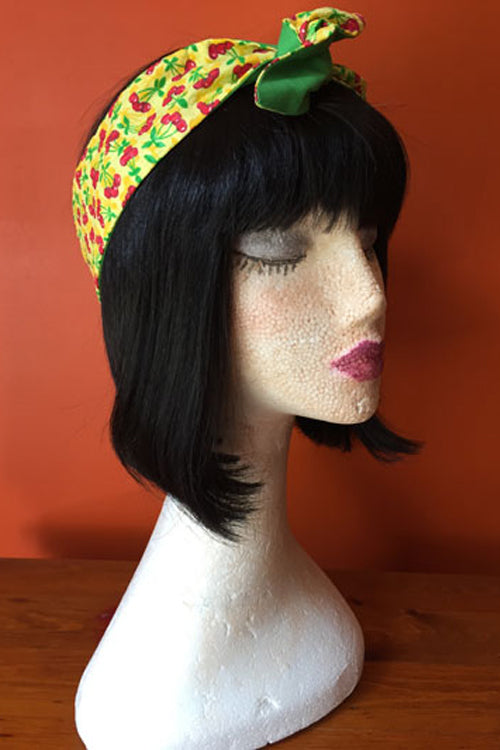 Reversible Wired Headband in Yellow Cherry Print & Green