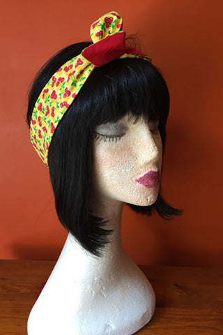 Reversible Wired Headband in Yellow Cherry Print & Red